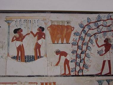 世界最古のワインの醸造の壁画の画像