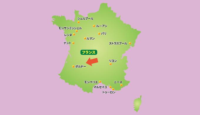 フランス・ボルドー地方の地図の画像